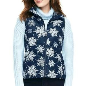 Lands End Snowflake Down Puffer Vest Navy XS